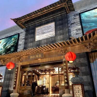 门头, 新中式门头, 新中式, 灯笼, 石像