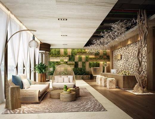 ?#39057;?#21069;台, 前台接待, 多人沙发, 茶几, 落地灯, 植物墙, 凳子, 桌子, 茶桌, 双人沙发, 盆栽, 现代