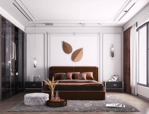 双人床, 床具组合, 墙饰, 衣柜, 壁灯, 吊灯, 床头柜