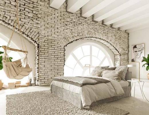 双人床, 床具组合, 吊椅, 摆件组合