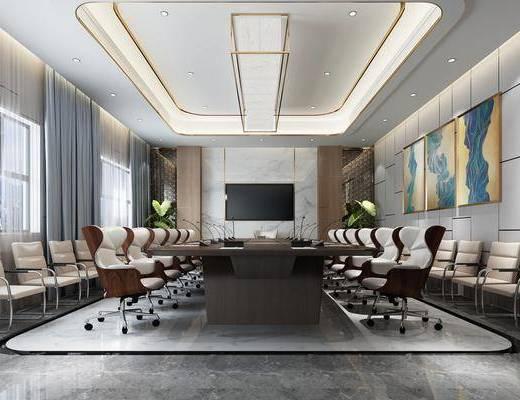 会议室, 会议椅, 办公椅, 单人椅, 装饰画, 挂画, 组合画, 盆栽, 绿植植物, 吊灯, 现代