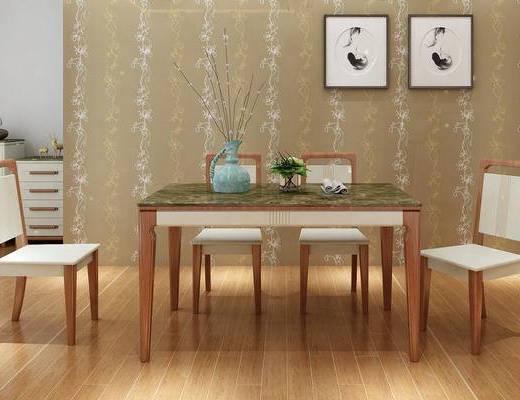 现代, 餐桌椅, 组合, 清新, 实木