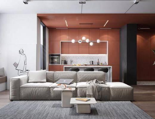 餐厅, 沙发组合, 吊灯, 茶几