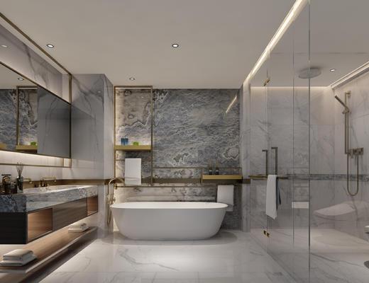 卫生间, 洗手台, 浴缸, 卫浴, 淋浴间, 镜子