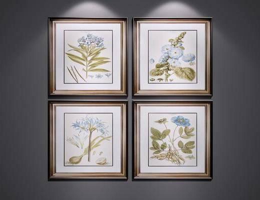 植物画, 装饰画, 挂画, 美式