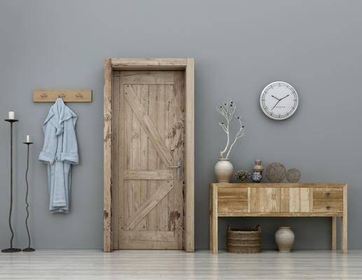 单开门, 木门, 边柜, 摆设