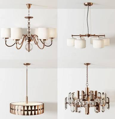 美式简约, 吊灯组合, 灯具组合, 美式吊灯