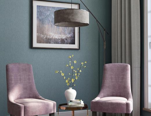 现代, 单椅, 茶几, 落地灯, 挂画