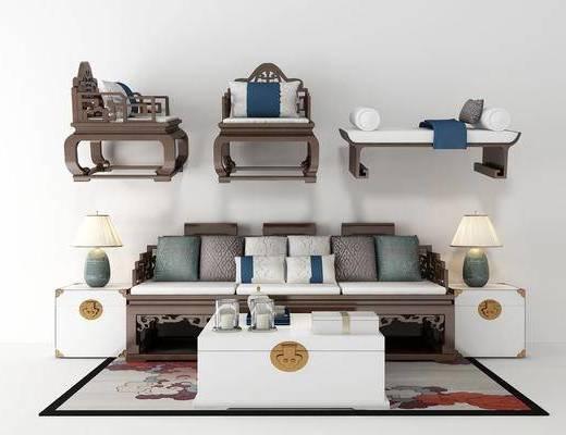 沙发组合, 单人沙发, 沙发凳, 茶几, 新中式沙发组合, 新中式