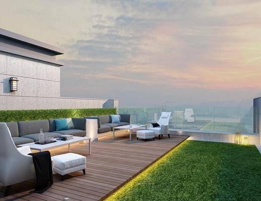 现代阳台, 阳台, 屋顶花园