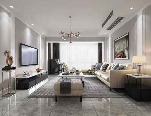 现代客厅, 沙发组合, 沙发茶几组合, 摆件组合, 现代