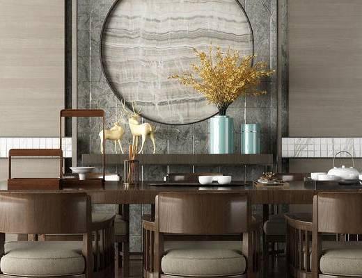 新中式, 餐桌, 椅子, 单椅, 摆件, 装饰品, 茶具