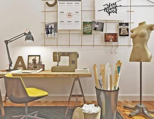 工作台, 桌椅组合, 墙饰, 人型模特, 台灯, 摆件组合