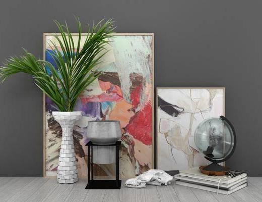 挂画组合, 艺术花瓶, 摆件组合, 现代