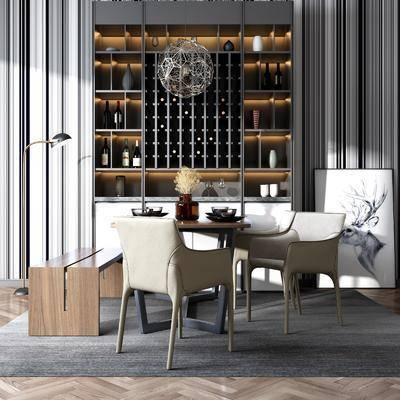 桌椅组合, 餐桌, 餐椅, 单人椅, 餐具, 长椅, 装饰柜, 落地灯, 摆件, 装饰品, 陈设品, 现代
