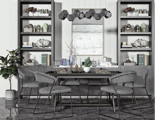 餐桌, 挂画, 绿植, 吊灯, 摆件