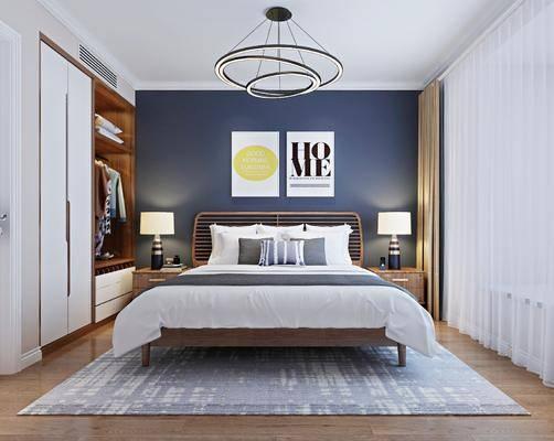 卧室, 北欧卧室, 床具组合, 衣柜, 衣服, 北欧