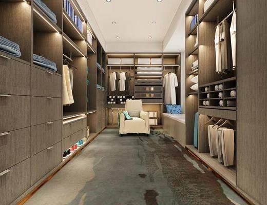 衣帽间, 服饰, 单人沙发, 现代