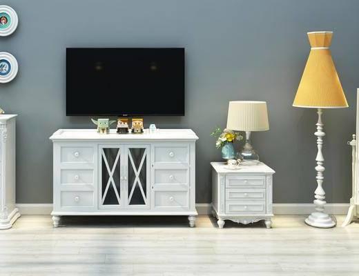 电视柜, 装饰柜, 边柜, 储物柜, 试衣镜, 床头柜, 台灯, 落地灯, 欧式