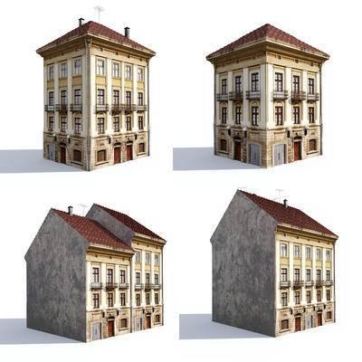 美式建筑, 建筑配楼, 欧式楼房, 简欧住宅, 建筑外观
