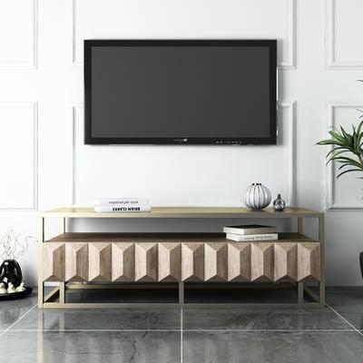 电视柜, 陈设品, 盆栽, 摆件, 电视
