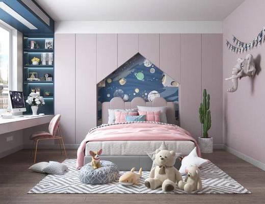 单人床, 背景墙, 植物, 书桌, 地毯, 玩具, 墙饰
