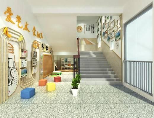 楼梯, 文化墙, 墙饰, 楼梯间, 栏杆