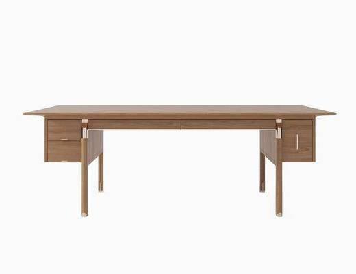 书桌, 实木书桌, 现代书桌