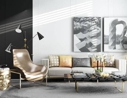 客厅, 沙发, 椅子, 台灯, 茶几, 装饰画, 装饰品