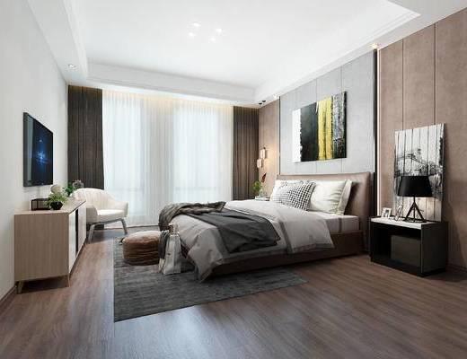 双人床, 电视柜, 挂画, 床头柜, 单椅, 地毯
