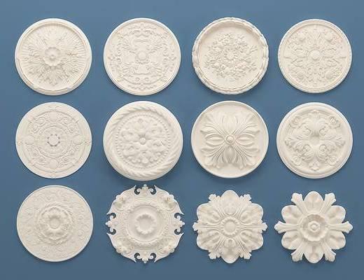 欧式石膏雕花, 灯盘, 构件