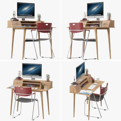 书桌椅, 电脑, 键盘, 鼠标, 办公用品, 书桌, 书椅, 桌椅组合, 椅子, 单椅, 现代