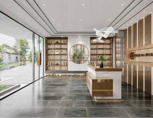 新中式SAP会所, 会所前台, 装饰柜