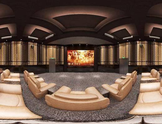 电影院, 现代电影院, 现代电影院全景3d模型, 全景图