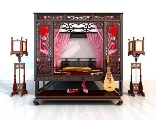 古典床, 双人床, 落地灯, 中式