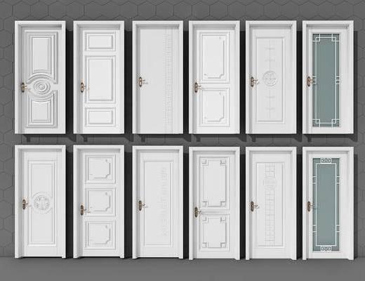 平开门, 简欧, 新中式, 门, 门构件, 构件