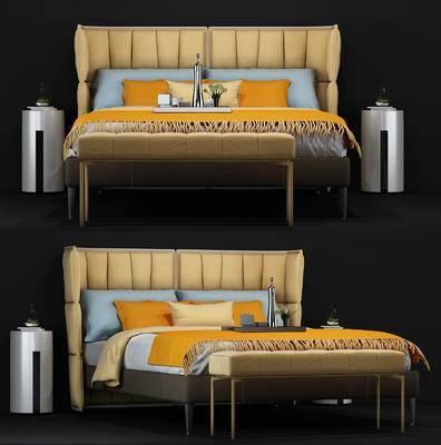 床, 床品, 脚踏, 床头柜