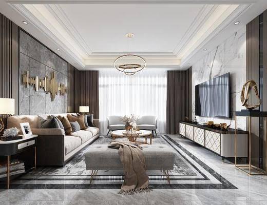 沙发组合, 茶几, 墙饰, 电视柜, 桌椅组合, 吊灯