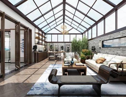露天台, 阳台, 多人沙发, 茶几, 躺椅, 单人沙发, 树木, 盆栽, 绿植植物, 茶桌, 单人椅, 凳子, 装饰架, 摆件, 装饰品, 陈设品, 吊灯, 新中式