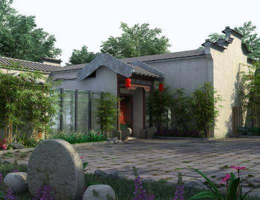 戶外庭院, 樹木, 綠植植物, 草地, 竹子, 中式