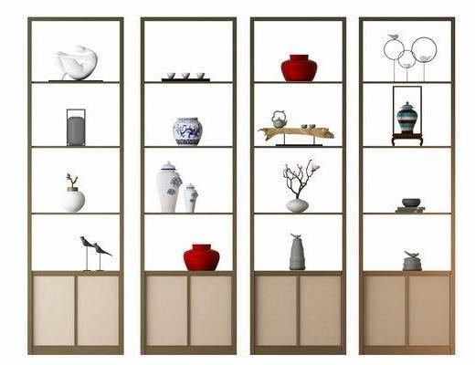 柜架, 装饰柜, 装饰架, 摆件, 装饰品, 陈设品, 中式