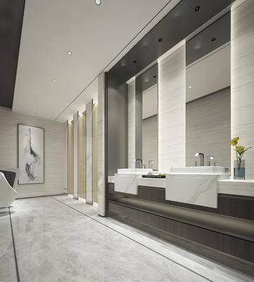 卫生间, 洗手台, 装饰镜, 装饰画, 挂画, 现代