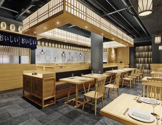 日式, 料理店, 卡座, 餐桌, 椅子, 单椅, 前台, 收银台, 墙画, 吊灯, 灯笼, 置物架, 酒瓶, 帘