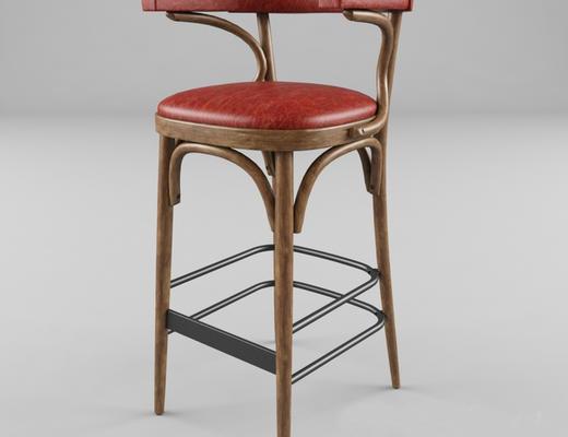 美式简约, 红色, 椅子, 美式椅子
