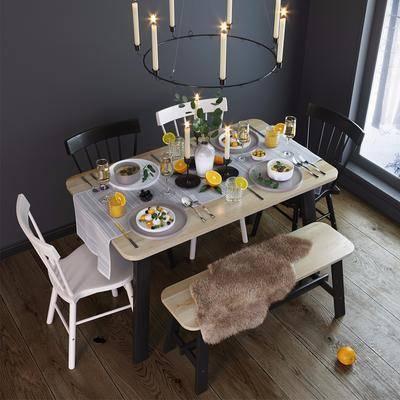 现代餐具餐桌椅组合, 现代, 餐桌椅, 食物, 吊灯, 椅子