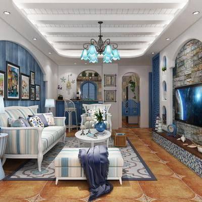 客厅, 沙发组合, 沙发茶几组合, 边几, 台灯, 吊灯, 电视墙, 照片墙, 陈设品, 摆件, 地中海