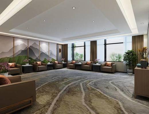 接待室, 沙发, 墙面背景, 绿植
