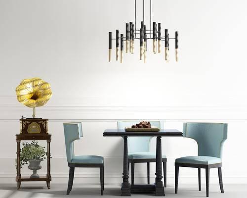 餐桌, 餐椅, 单人椅, 装饰架, 吊灯, 喇叭, 北欧