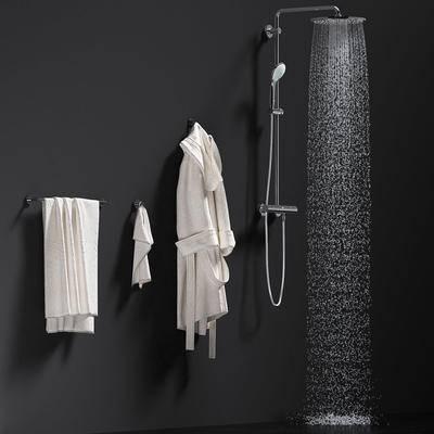 淋浴花洒, 浴袍, 浴巾, 毛巾, 现代, 花洒