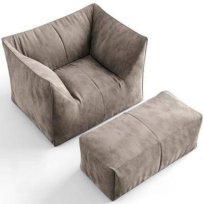 单人沙发, 脚踏沙发, 绒布沙发, 现代